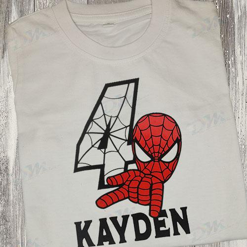personalised Spiderman kids birthday t-shirt